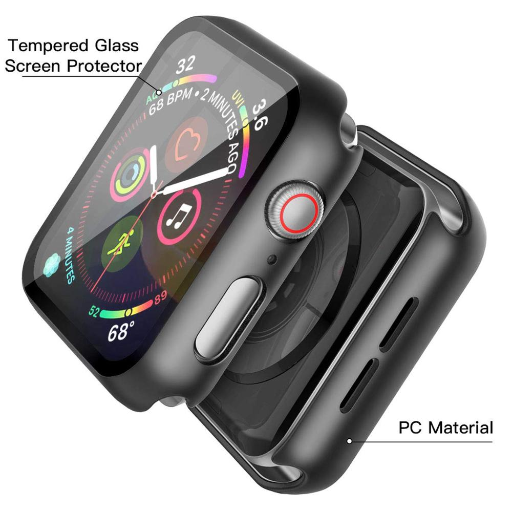 360 full Screen protector Bumper Frame matte hard Case for Apple watch 5/4/3/2/1 cover Tempered glass film for iwatch 4/5 4