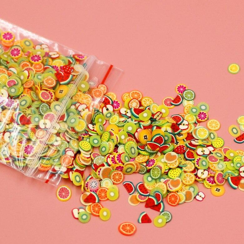 New Soft Pottery 1000pcs Fruit Slices Filler For Nails Art Tips Slime Fruit For Kids DIY Slime Accessories Supplies Decoration