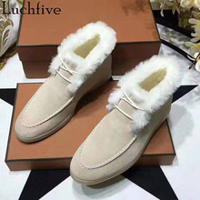 Winter Boots Flat-Shoes Snow Classic Pointed-Toe Lace-Up Women Runaway Beige Hot-Wool