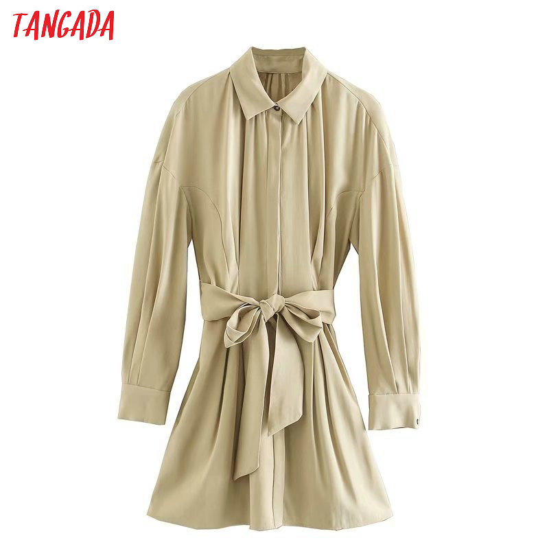Tangada Women Khaki Shirt Dress With Slash Pocket Long Sleeve Females Casual Elegant Mini Dresses Vestidos 4Q33