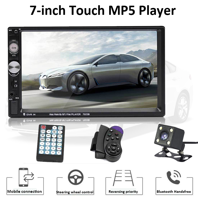 TOSPRA 7023B 2 Din Car Multimedia Player Bluetooth Auto Video Stereo 7 Touch Screen Video MP5 Player Auto Radio Backup Camera