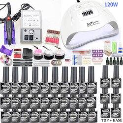 Conjunto de uñas de Gel 120W lámpara UV secador de uñas para manicura Gel taladro eléctrico de uñas para arte de uñas taladro de manicura máquina cortador herramientas