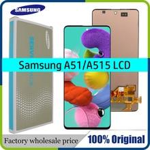 100% SUPER AMOLED 6.5 สำหรับ Samsung Galaxy A51 LCD A515 A515F A515F/DS A515FD Touch หน้าจอกรอบ Digitizer ASSEMBLY