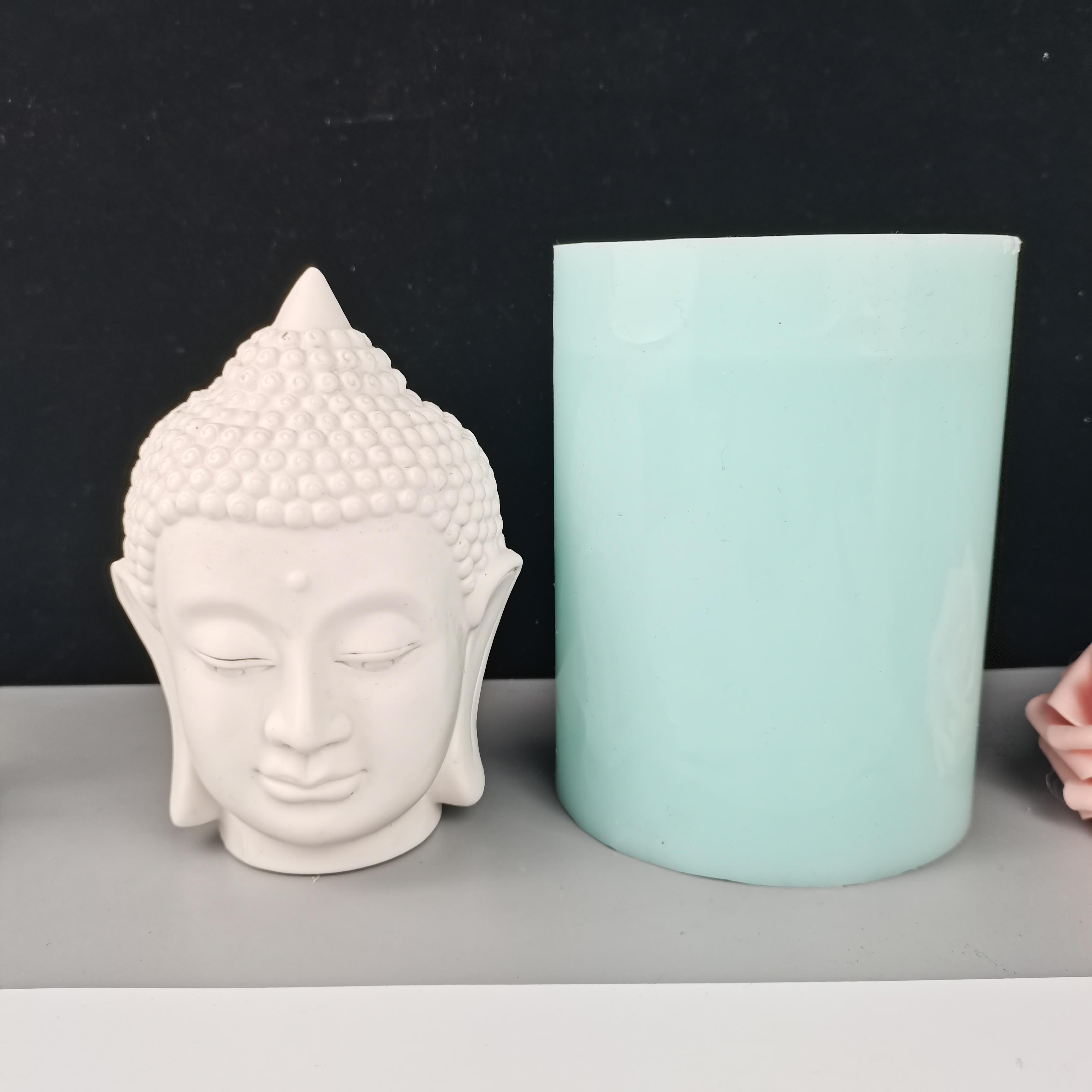 PRZY 2020 New Buddha Head Silicone Mold Statue Clay Plastic Plaster Mold Home Candle Decoration Soap Buddha Head Mold