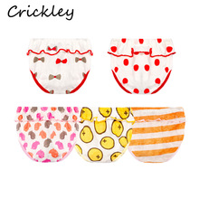 5Pcs/Lot Children Underwear Cotton Girls Underpants Lovely Lotus Edge Panties Cartoon Print Toddler Briefs