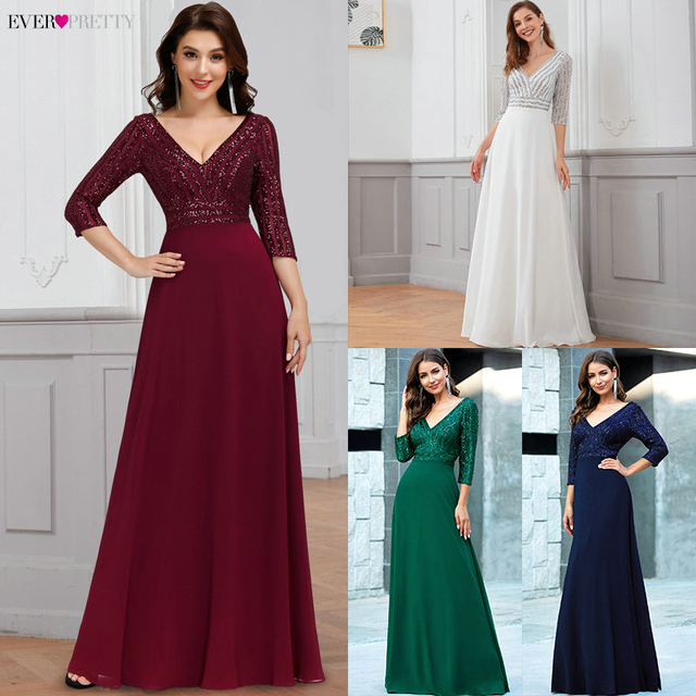 Sexy Evening Dresses Ever Pretty EP00751DG Sequined 3/4 Sleeve Double V-Neck A-Line Sparkle Ladies Party Gowns Robe De Soiree