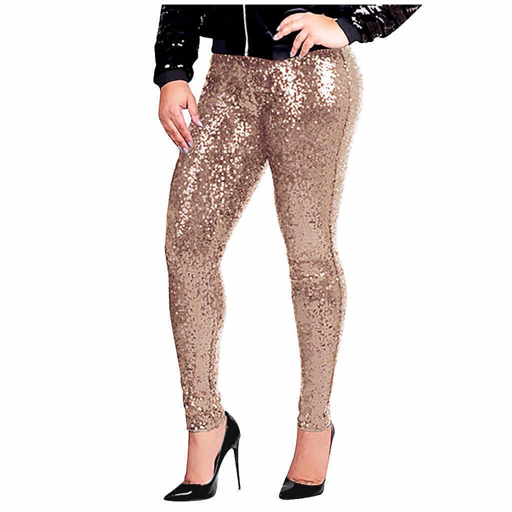ยาว Skinny กางเกงยีนส์ผู้หญิง Glitter Golden High เอวกางเกงหญิงปาร์ตี้เต้นรำกางเกง Streetwear กางเกง PLUS ขนาด # LR4