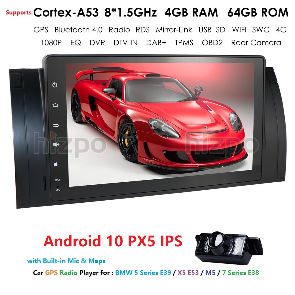4/8Core Android 10 1Din Car no dvd player For BMW E39 X5 M5 E38 E53 multimedia audio stereo radio video GPS Navigation headunit image