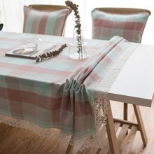 Table Cloth Dinner Rectangular Antiderapant Tablecloth Home Kitchen Tischdecke Decor  Plaid  Table Cover  Lace Tassel simanfei linen table cloth country style plaid print stylish rectangle table cover tablecloth home kitchen decoration