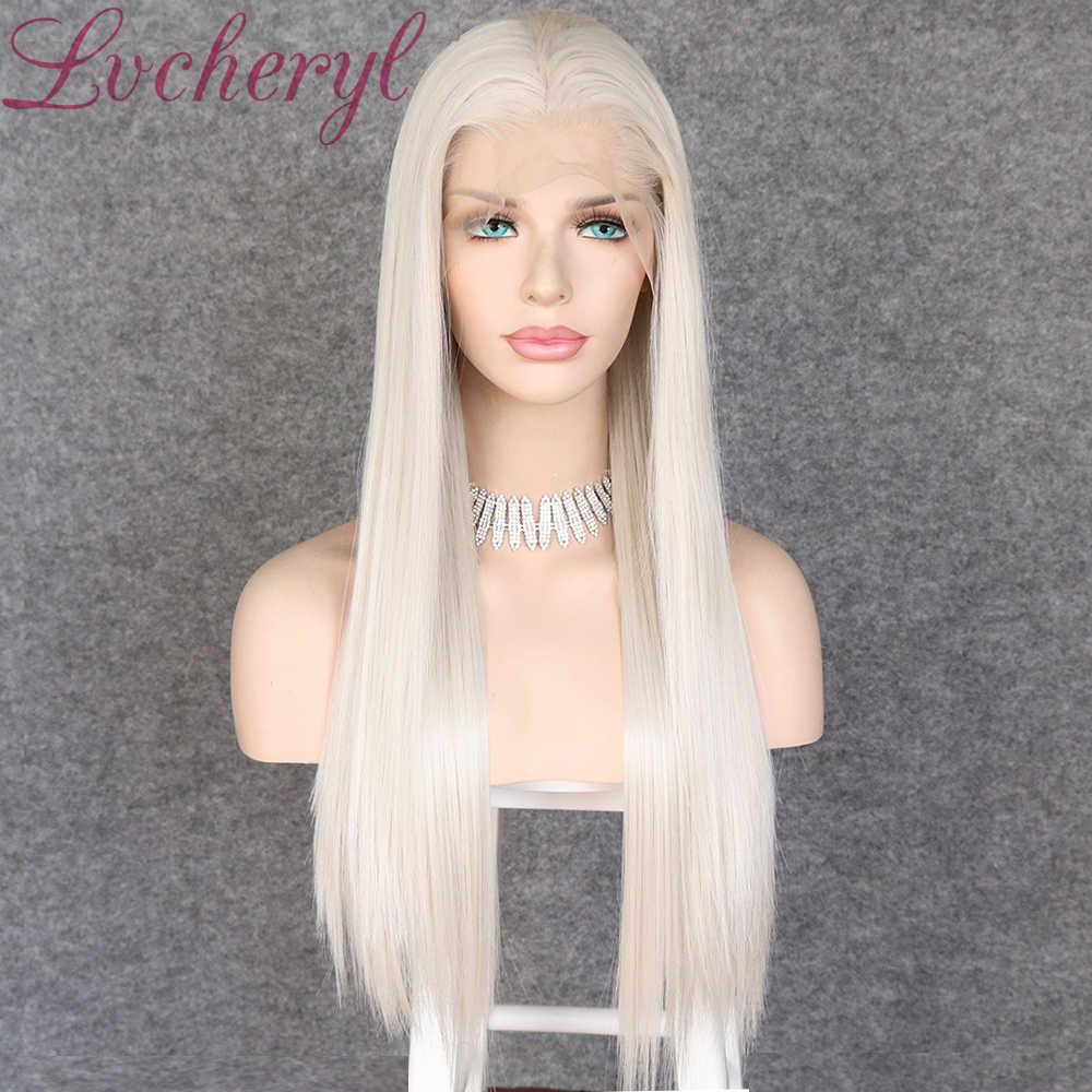 Lvcheryl Hand Gebunden 13x6 Platin Grau Farbe Freies Teil Futura Faser Haar Perücken Lange Wärme Beständig Synthetische Spitze vordere Perücken