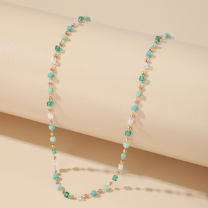 Tocona Bohemian Colorful Bead Necklace for Women Charm Geometric Gold Color Alloy Metal Chain Choker Necklace Summer Jewelry