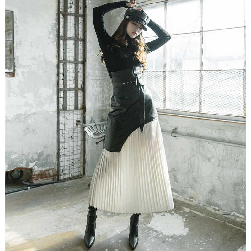 Lanmrem 2020 Rok Winter Vrouwen Nieuwe Grote Schommel A-lijn Geplooide Rok Hoge Taille Wilde Mode Was Dunne Lederen Rok PC302