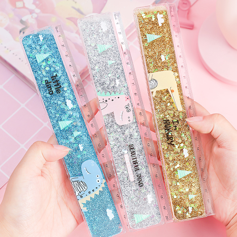 1 pc Creative Cute Ruler Sequin Quicksand 20cm Kawaii Student Rulers Stationery School Office Learning Accessories Gift for Kids 2