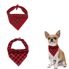 2 Pcs Unique Style Paws Christmas Dog Cat Bandana Accesseries Pet Product Gift for Bandage Collar Red Plaid