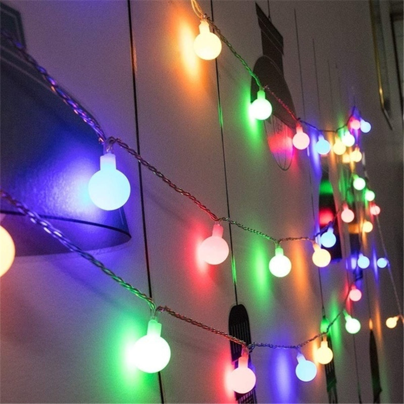 5M 50LEDs Flash Christmas Garland LED Globe String Lights Outdoor Indoor Decors For Wedding Xmas New Year Party AA Battery Power
