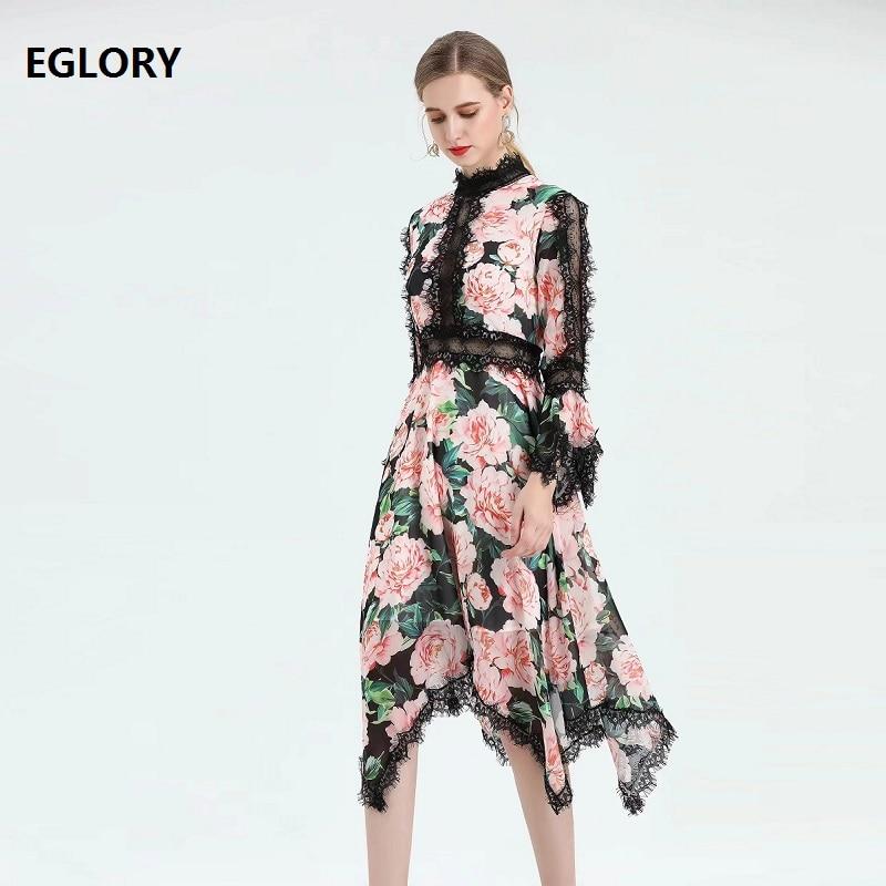100% robe en soie 2019 automne mode femmes charmante fleur imprimer dentelle Patchwork à manches longues asymétrique Sexy fête dame robes