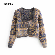 Toppies 2021 Woman Jacquard Knitted Jacket Vintage Cardigan Sweater Single Breasted Square Neck Tops