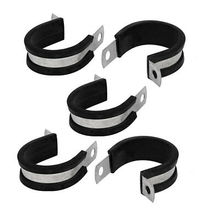 цена на 30mm Dia EPDM Rubber Lined P Clips Cable Hose Pipe Clamps Holder 5pcs