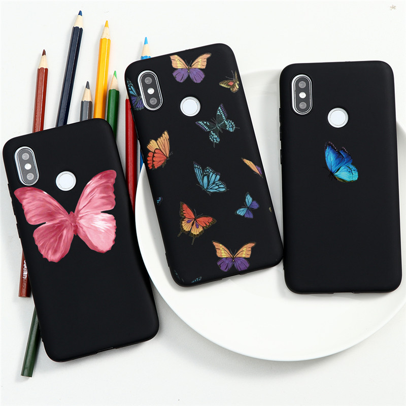 Cute Butterfly Blue Black Case For Xiaomi Redmi Note 9 9S 8 8T 10X K20 K30 7 5 6 Pro Max 7A 8A 6A Silicoen Phone Shell Coque New