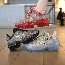 Стразы блестящие женские туфли со стразами на плоской подошве