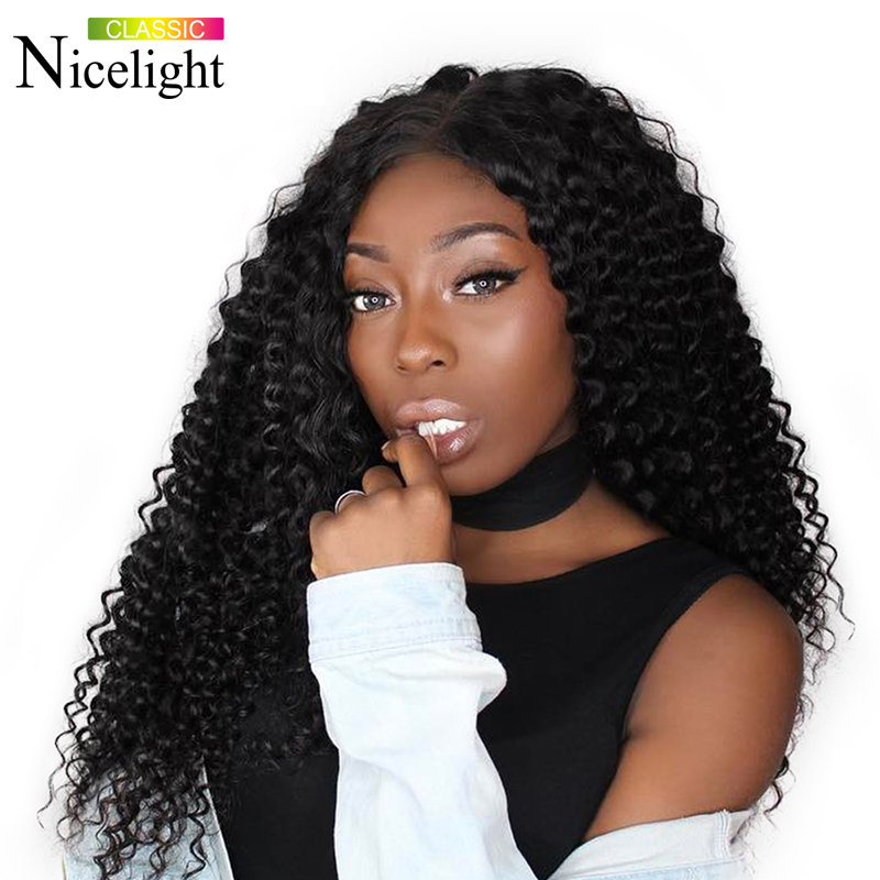 Deep Wave Closure Wig Human Hair Wigs Nicelight 4X4 Closure Wig Peruvian Remy Lace Closure Wigs 150% Human Hair Lace Wigs