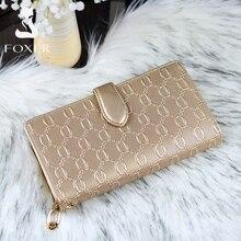 FOXER billetera larga de cuero de vaca para mujer, bolso de mano femenino, de diseñador famoso, a la moda
