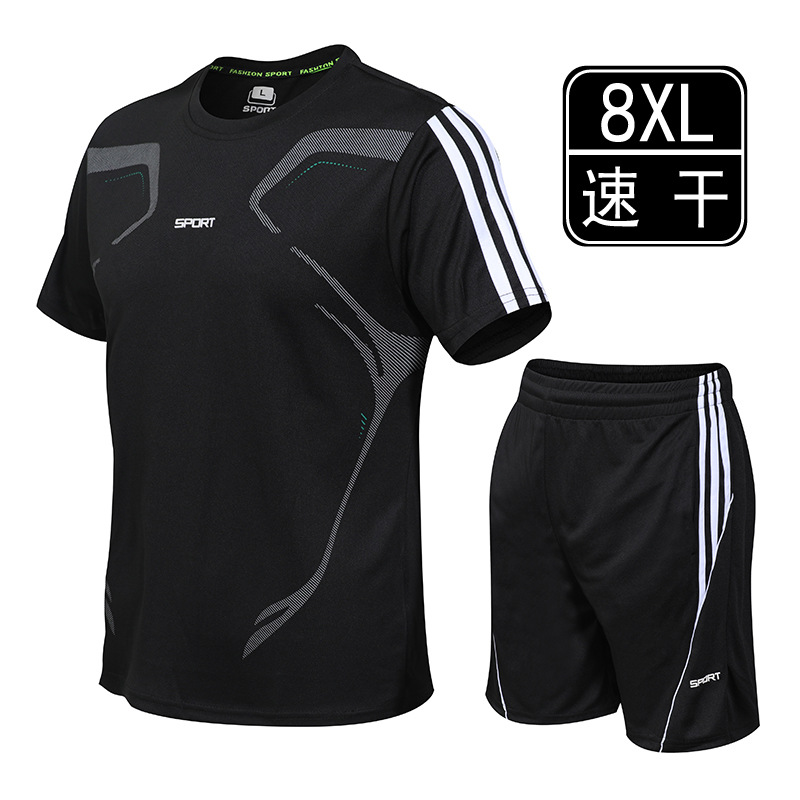 New MEN'S Casual Suit Short Sleeve Large Size Youth Training Sports Clothing Summer T-shirt Quick-Dry Breathable Shorts
