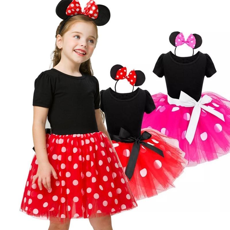 Fancy Mini Mouse Dress for Girls Summer Dress Christmas Kid Costume Polka Dot Costume 2 6 Years Children Costume Dresses  - AliExpress