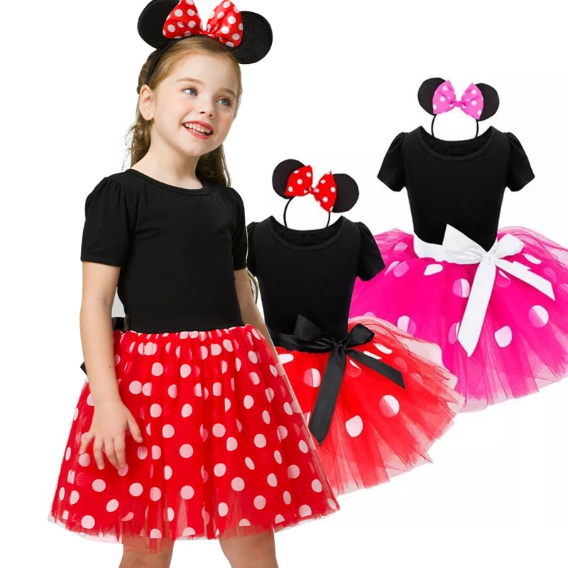 Fancy Mini Mouse Dress for Girls Summer Dress Christmas Kid Costume Polka Dot Costume 2 6 Years Children Costume|Dresses| - AliExpress