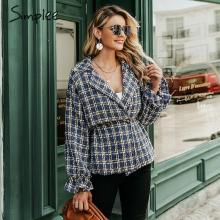 Simplee Elegant women plaid tweed jacket coat Lantern sleeve