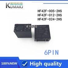 PCS NOVO relé HF42F-005-2HS 2 HF42F-012-2HS HF42F-024-2HS HF42F 012-2HS HF42F 012 2HS 5A 250VAC 5V 12VDC 24V 6PIN relé de Potência