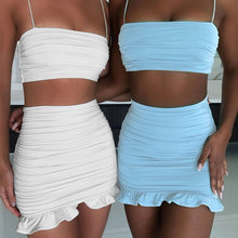 Sexy Frauen Anzüge Rüschen Spaghetti Liebsten Crop Tops Mini Röcke Weiß Bodycon Sets 2020 Sommer Party Outfit Club Weibliche(China)