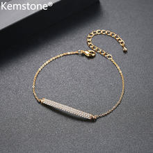 Kemstone, Золотое искусство, кубический цирконий, медные ювелирные изделия, регулируемая цепочка, браслет, подарок для женщин