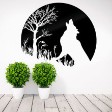 Howling Wolf Wall Decal With Full Moon Vinyl Sticker Art Home Decor For Living Room Bedroom Removable Murals Houseware A369