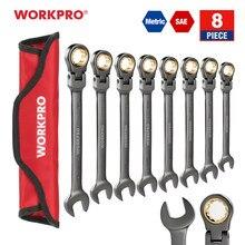 WORKPRO — Jeu de clés mixtes métrique/SAE de 8 pièces à tête flexible, outil à cliquet pour la réparation automobile
