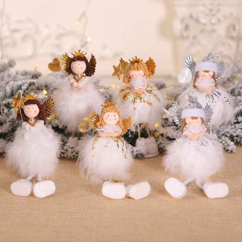 Christmas Plush Standing Angel Doll Desktop Ornament Holiday Figurines Gift For Boys & Girls Christmas Decorations For Home