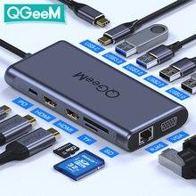 QGeeM-Hub USB type-c vers Macbook Pro à Triple affichage vers 4K double HDMI, VGA, Micro SD, RJ45 Aux, adaptateur Hub USB PD
