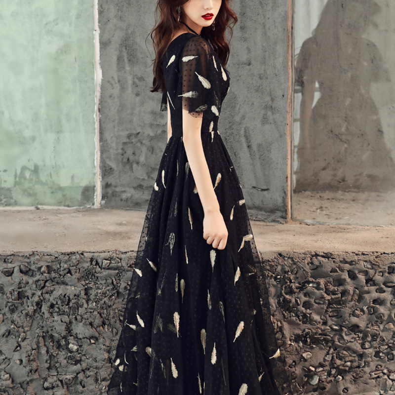 2020 Real Bridesmaid High-end Atmospheric Dust Party Long Dress Skirt Female Students Noble Aristocratic Temperament Elegant
