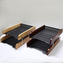 Double Layers Table Storage Organizer Box Big Document Case Metal With Solid Wood Desk Organizer Stationery Book For Home Desk