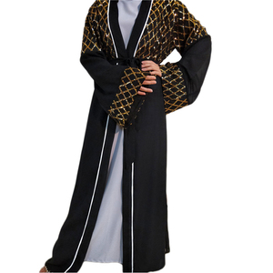 Open Abaya Luxury Sequins Muslim Women Kimono Long Dress Charm Party Evening Maxi Robe Islamic Ramadan Arab Jilbab Dubai Fashion