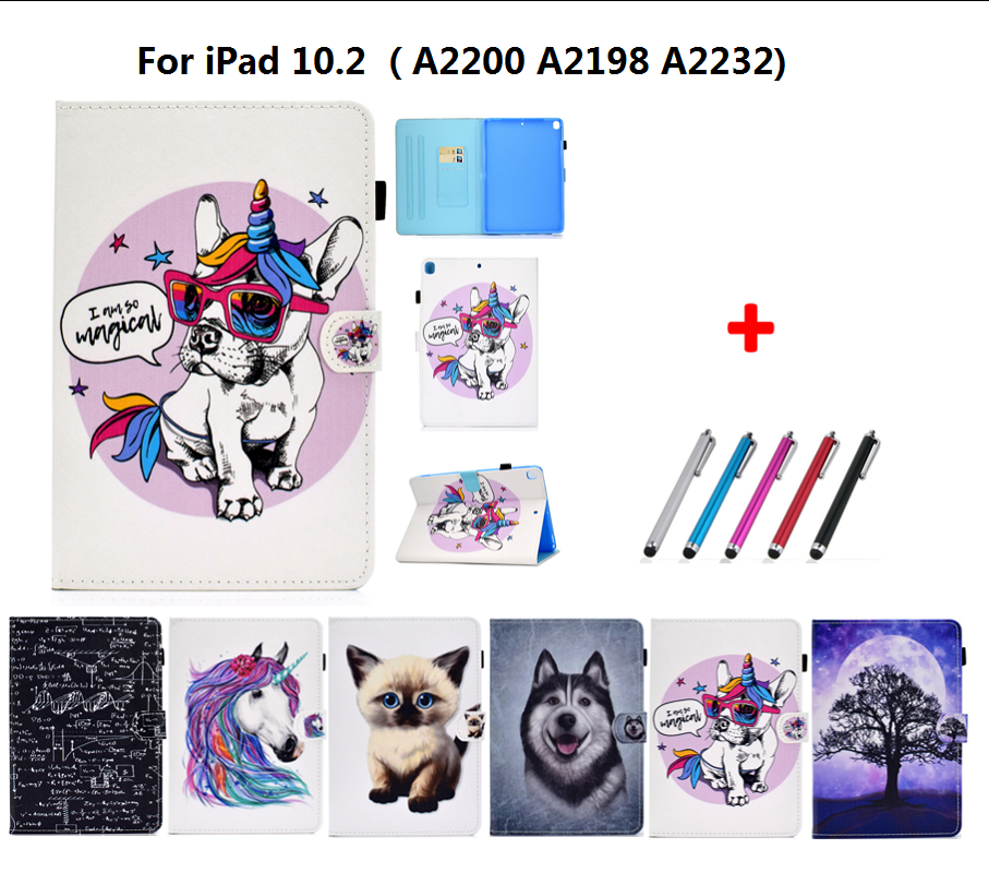 For New iPad 10 2 inch model A2197 Cover Painted Puppy Cat Unicorn Leather Book Stand