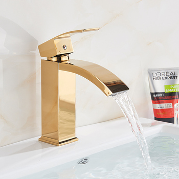 Bathroom Waterfall Basin Sink Faucet Black Faucets Brass Bath Faucet Hot&Cold Water Mixer Vanity Tap Deck Mounted Washbasin tap 25