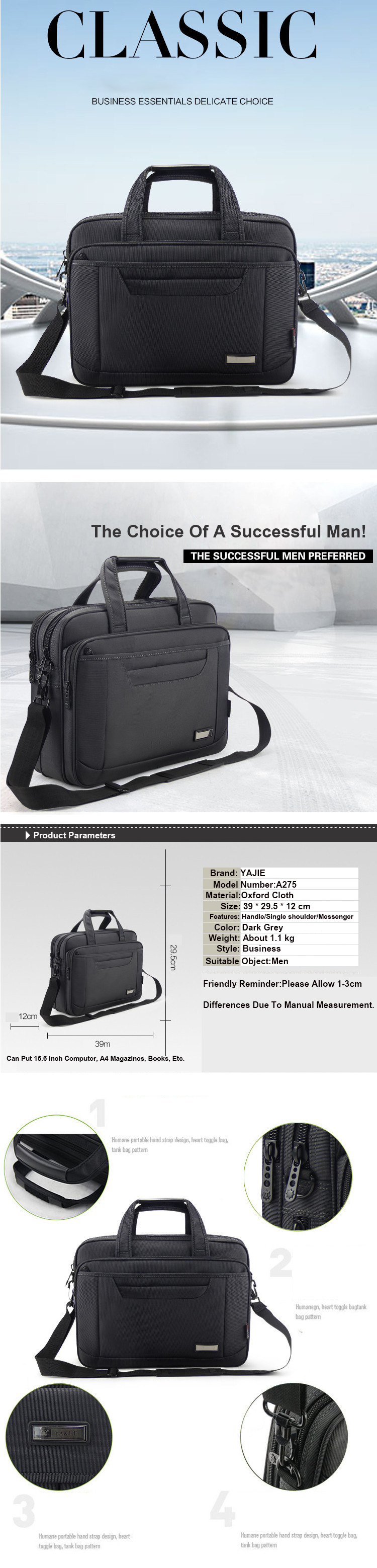 Hec466d1814024653906afbfb8a5932e5C - OYIXINGER Briefcase Lawyer Men Computer Hand Bags Luxury Brand Mens Business Bag Oxford Waterproof Office Work For Maletas