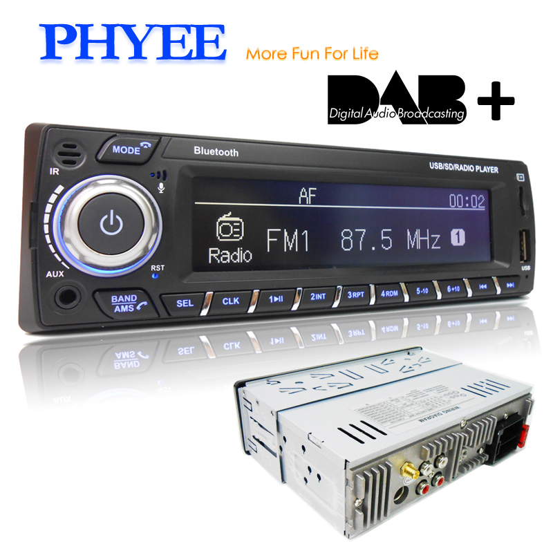 DAB Plus Car Radio 1 Din RDS MP3 Audio Player Bluetooth A2DP FM AM App Control USB TF ISO Stereo System Head Unit PHYEE 1089DAB image