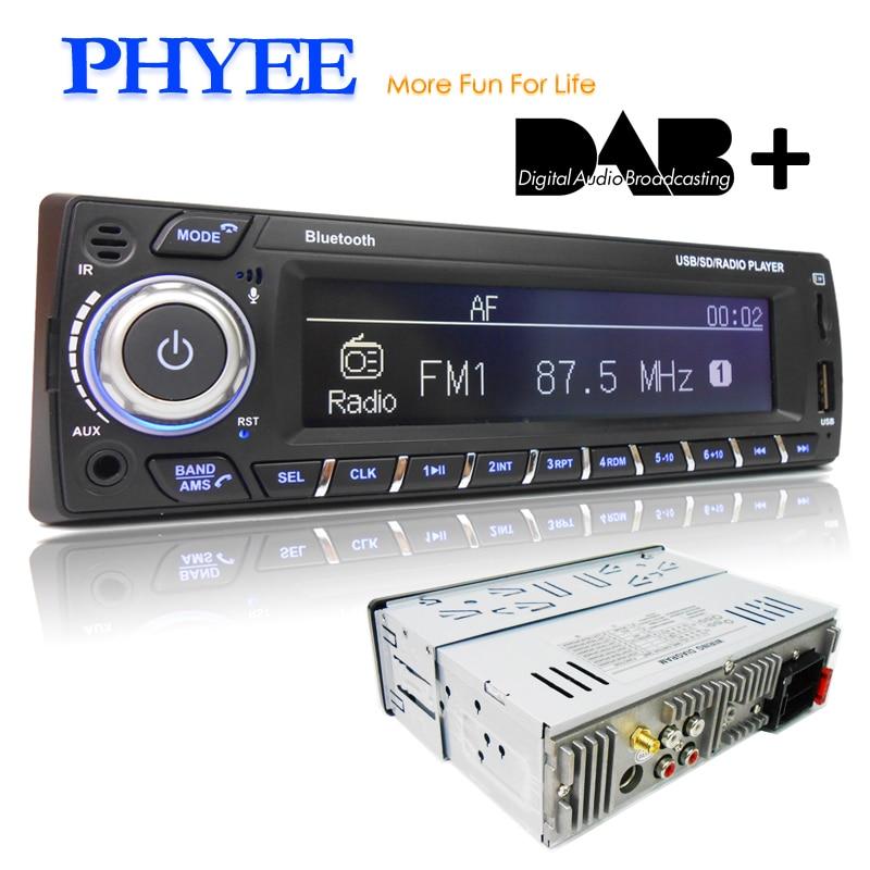 DAB Plus Автомагнитола 1 Din RDS MP3 аудио плеер Bluetooth A2DP FM AM управление через приложение USB TF ISO стерео Система головное устройство PHYEE 1089DAB