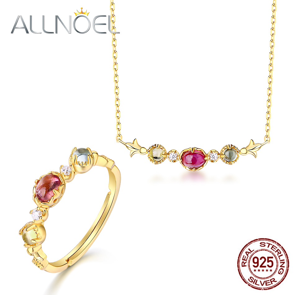 ALLNOEL 925 Sterling Silver Jewelry Sets For Women Pure Natural Tourmaline Gemstone Diamond Ring Necklace Wedding Fine Jewelry