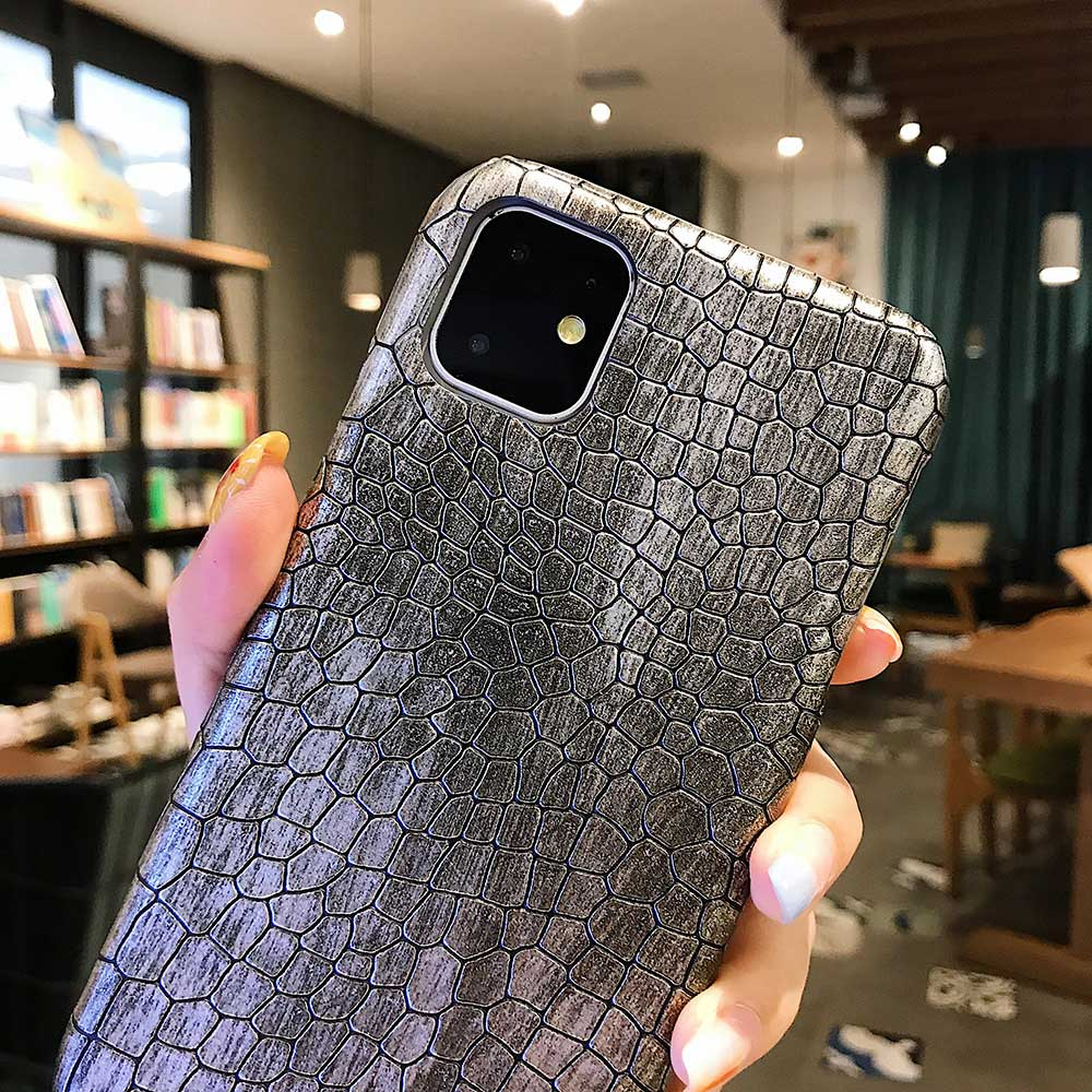 Fashion Cool Crocodile Snake Skin Cover Case With Hybrid Rubber Cape For iPhone Xs Max 10