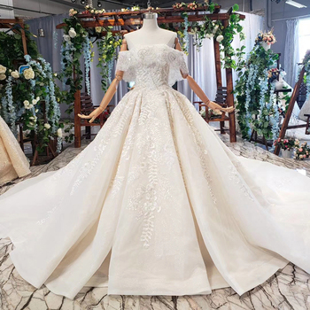 BGW HT41714 Luxury Wedding Dress With Wedding Veil Beaded Boat Neck Off Shoulder Handwork Lace Wedding Gowns 2020 Encontrar Loja