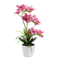 9 Heads Artificial Orchid Flowers Bonsai For Wedding,Single Fake Faux Orchid Flowers Single Branch With Pot Decoration Home