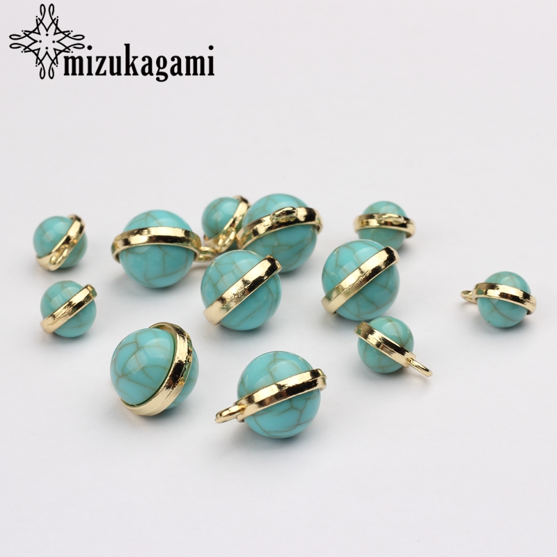 6pcs/lot Round Ball Tail Extender Imitation  Charms Pendant For DIY Fashion Jewelry Bracelet Making Accessories